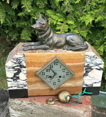 Vintage French Art Deco Mantle Clock Marble Spelter Dog With Key & Pendelum *