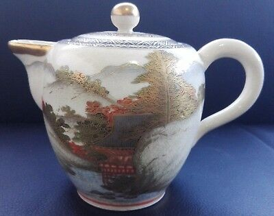 Antique Japan Satsuma Pottery Meiji Period Landscape Milk Jug Creamer