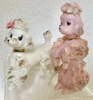 Pair Of Mid-Century Ceramic Spaghetti Poodle Figurines Signed/Unsigned