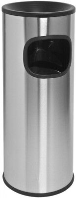 Ashtray Trash Can Outdoor Cigarette Receptacle Smoking Fire-Safe Stainless 3 Gal