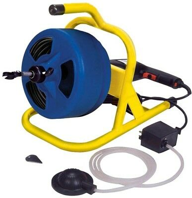 50 ft Plumbing Auger Tool Cable Drum Machine Industrial Foot Switch Clog Cleaner