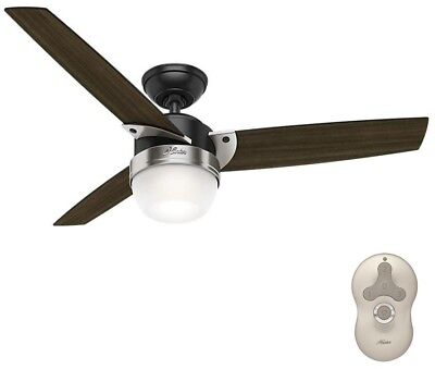 Hunter Flare 48 in. LED Indoor Matte Black Ceiling Fan with Light and Universal