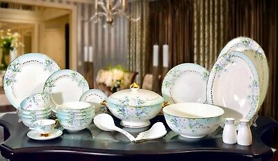 Luxury Flower Dinner ware Set Gold Handpainted - 81 Pieces - Top Quality
