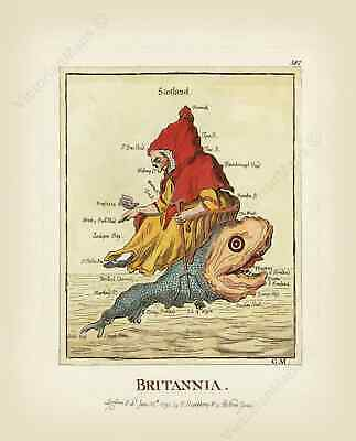 Britannia Britain humorous satirical map England Wales J. Gillray 1791 art print