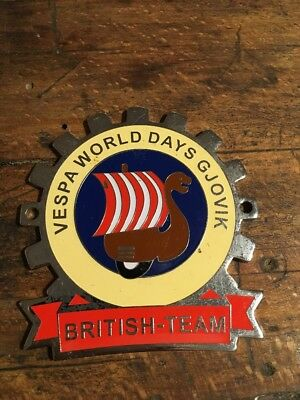 Vespa Plakette World days Gjovik British Team, Autoplakette, Badge, Oldtimer,