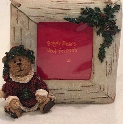 Boyds Bears Photo Holder Ornament ~ Santa Bear w/ Pine Cones & Holly Bearstone