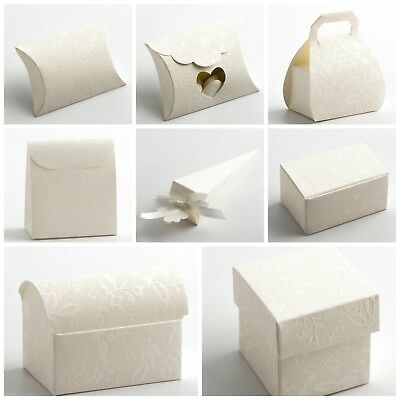 Harmony Off White Wedding Favour Boxes. Party Christening Sweet Favor Gift Boxes