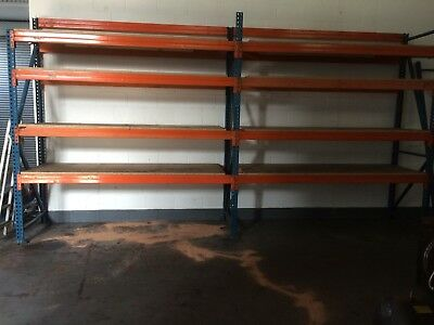 2 Bays of Used Pallet Racking Heavy Duty Long Span Shelving 9 Shelves