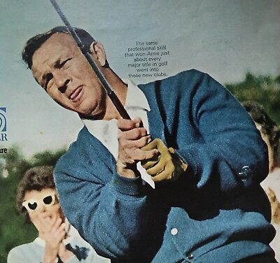 Arnold Palmer Sears Golf Clubs Ball 2 Page Ad 1969 Vintage