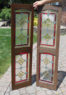 Antique Stained Glass Panels In Sidelight Shutter
