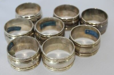 Vtg International Silver Silverplate Napkin Rings ~ Set of 8