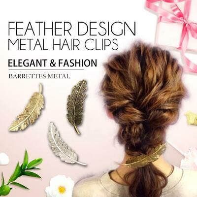 Metal Leaf Shape Feather Hair Clip Hairpin Women Jewelry Accessories Girls gift