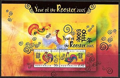 CHRISTMAS ISLANDS  YEAR of THE ROOSTER  MINI SHEET  FINE USED