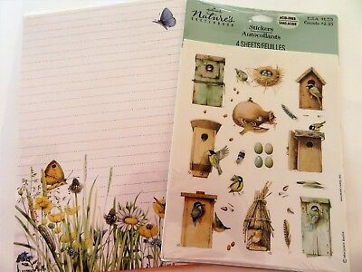 Hallmark Marjolein Bastin Stationery Stickers Lot Birdhouse Tablet Envelopes NEW