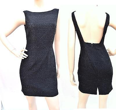 d44c4898e44f CARMEN MARC VALVO Black Sexy Cut-out Open Back Fully Beaded Sheath Dress  Size 2