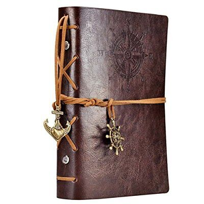 Leather Journal Writing Notebook 7 Inches Travel Diary Sketchbook Unlined Spiral