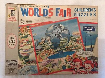 1964-65 Official New York World's Fair Puzzles. (3) Unisphere and Greyhound. MB
