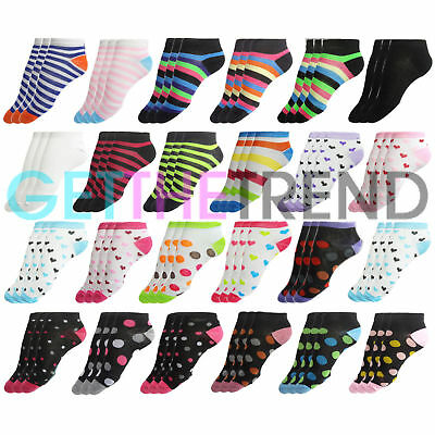 12 Pairs Womens Ankle Socks Ladies Trainer Summer Liners Invisible Sock Pack