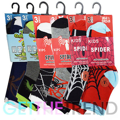 6,12 Pairs Boys Character Cotton Socks Lot Children Kids Novelty Designer Animal