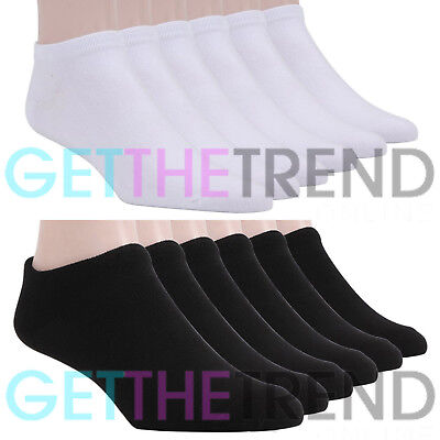 Mens Trainer Socks Ankle Cotton Liner Pairs Womens White Sports Size Rich Black