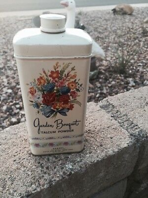 Vintage Talcum Powder Tin Can Garden Bouquet Romney Great Graphics Cottage