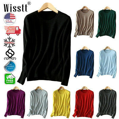 Winter Womens Cashmere Loose Pullover Turtleneck Knit Sweater Jumpers Autumn US