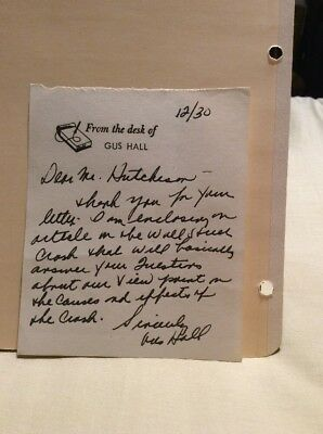 Gus Hall Autograph Letter Signed American Communist Leader