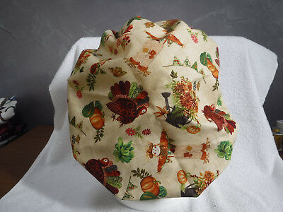 Bouffant surgical scrub hat cap medical beige fall thanksgiving turkey scarecrow