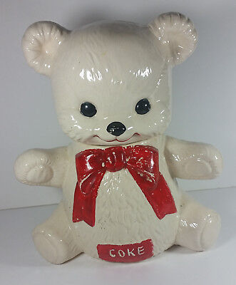 Vintage Coke Teddy Bear Cookie Jar 12in 5cents Canister Rare USA White Red