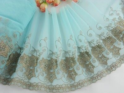 """7.5""""*1yard delicate  embroidered flower on blue  tulle lace trim for DIY 87 0193"""