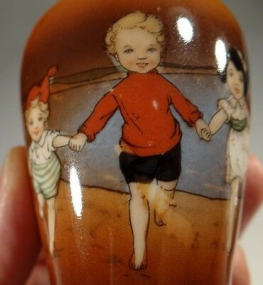 Royal Bayreuth Vintage Sand Beach Babies Vase With Silver Rim Early And Rare