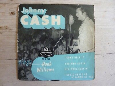 "Johnny Cash Sings Hank Williams Vinyl EP 7"" London Records, UK,  1959"