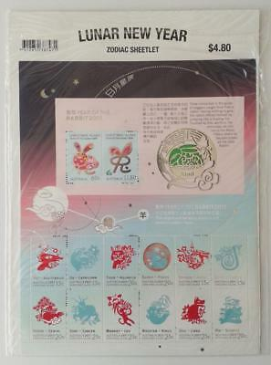 2011 Christmas Island Lunar New Year Zodiac Sheetlet Australia Post Pack Muh