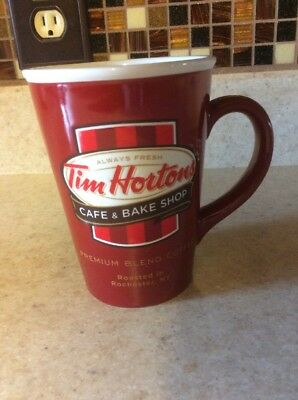 "Tim Hortons Coffee Tall Red Mug Cup 2011 Limited Edition 14 oz VGUC 5"" high"