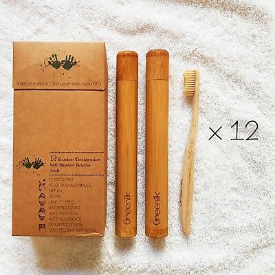12 pack Bamboo Toothbrushes Adult Size (Soft) - with 2 Bamboo Cases by Greenilk
