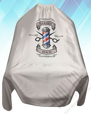 Barber Shop Cape Gown Premium Quality Salons Hairdressers Barbers White Satin