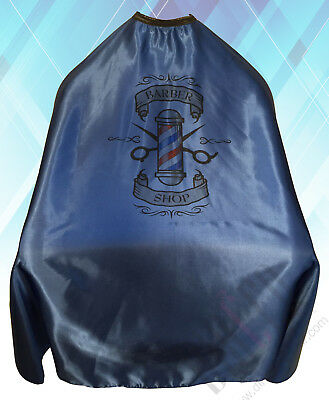 Barber Shop Cape Gown Premium Quality Salons Hairdressers Barbers Blue Satin