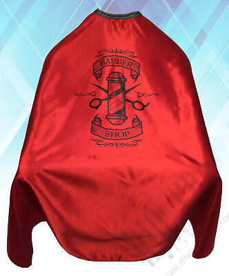 Barber Shop Cape Gown Premium Quality Salons Hairdressers Barbers Red Satin