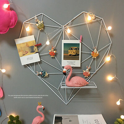 Large Metal Heart Shaped Floating Wall Storage Mount Shelf Unit Photoes Display