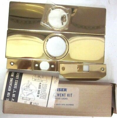 1 Vintage Weiser USA Escutcheon Kit For Mortise Door Lock Repair Shiny Brass