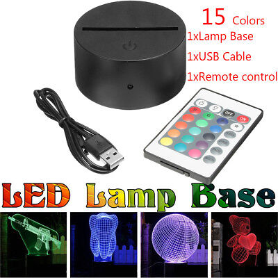 ABS Acrylic Black 3D LED Lamp Night Light Base + USB Cable + Remote Control
