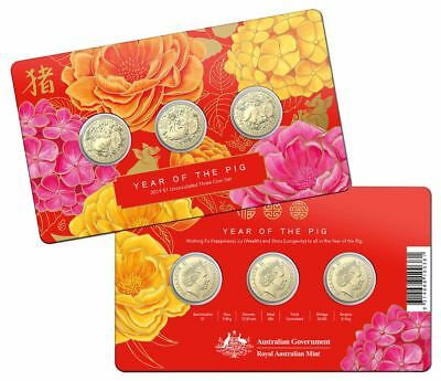 Year of the Pig 2019 $1 Fu Lu Shou Al-Br Uncirculated 3-coin Set