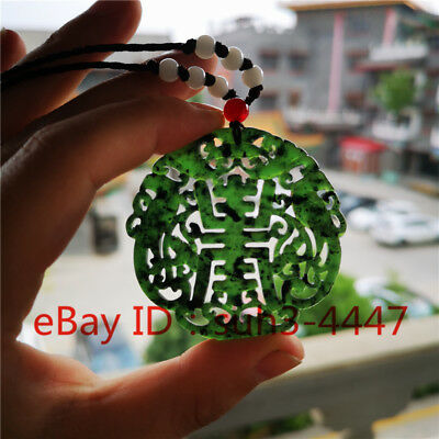 Chinese Natural Black Green Jade Pendant Double-sided Carving Jewelry Gifts Hot