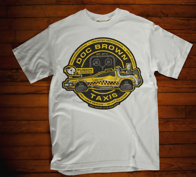 Doc Brown Tshirt Taxi back to the future movie film retro marty mcfly tee
