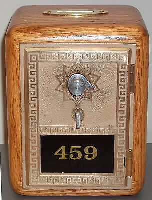 Post Office Box Door Bank With Brass Slot-Oak