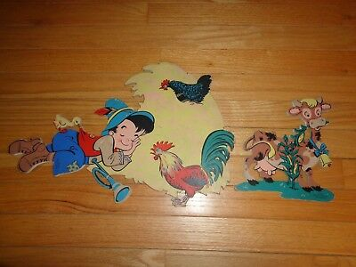 Vintage The Dolly Toy Co. Little Boy Blue Wall Decor Mother Goose Pin-ups 1951