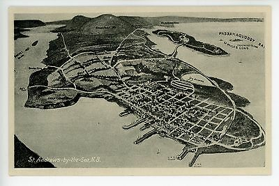 St-Andrews-by-the-Sea Vintage MAP Postcard New Brunswick ca. 1930s