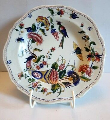 Antique French 19thc Faience - GIEN - CORNUCOPIA HANDPAINTED SCALLOPED PLATE.
