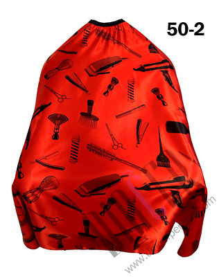 Cape Gown Tools Design Barber Shop Salons Hairdressers Stylists Red & Black