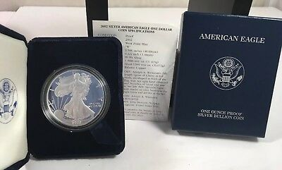 2002W AMERICAN EAGLE ONE OUNCE PROOF SILVER BULLION COIN BOX COA One Dollar